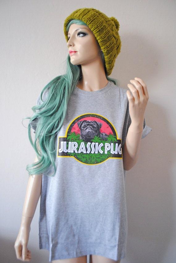 Jurassic Pug Grey T-Shirt hipster tumblr cute gift 90s oversized dog