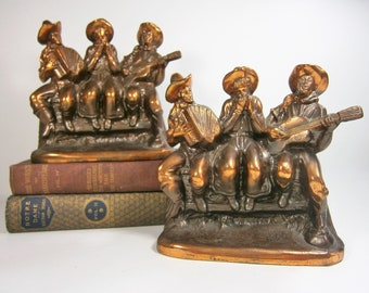 Western Bookends Made By The Ray E Dodge Co. in the 1940's, Three Cowboys Singing  Playing Instruments,  Bronze Bookends, Dodge Bookends