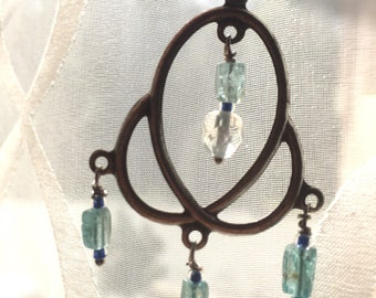 Elegant Filigree Earrings with Light Blue Topaz Gemstones and a Faceted Crystal Bead by Denise Sloan