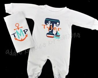 Personalized Nautical Themed Baby Sleeper and Bib OR Burpcloth Combo