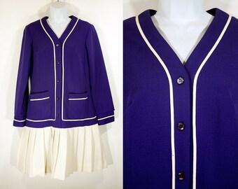 Vintage 70's Drop Waist Dress Purple & White