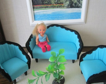 MINI BABY BARBIE furniture set of 3. The best gift for your Doll !