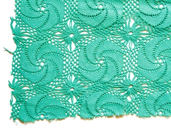 Mint Green Vintage Hand Crocheted Lace Trim sewing supply
