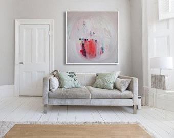 """ABSTRACT print,GICLÉE print of  white, pink, red painting, modern, expressionist, """"Mandarin Talk"""""""