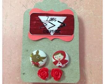 LITTLE RED RIDING hood earrings set