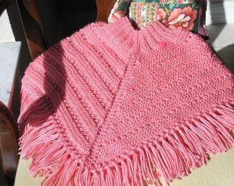 Knitted Poncho Girls Medium - Strawberry