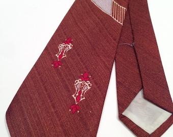 1950's Deep Redish Brown Stylized Art Deco Patterned Tie.