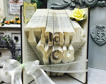 Folded book art, book folds, folded book, paper gift, book, book origami, upcycled book, repurposed book, thank you gift, book folding,