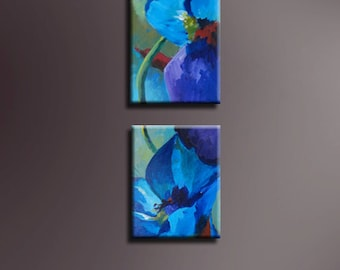"Original Acrylic abstract Floral  painting- The Blues  - 8"" x 10"" each"