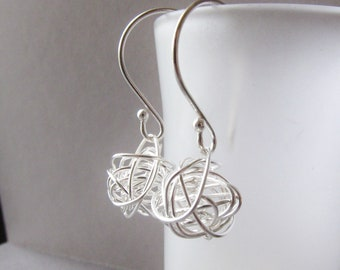 Sterling Silver Earrings Handwired sterling ball - Modern Dangle Earrings- short tangled ball earrings
