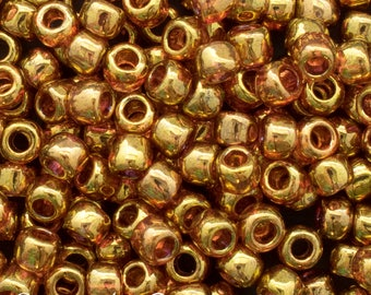 6/0 Toho Seed Beads - Gold Lustered Transparent Fuchsia - 3701 - Color # 6-421 - 16 Grams