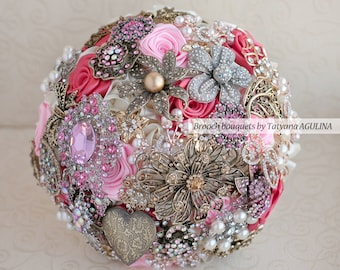 Brooch bouquet. Raspberry pink  and gold wedding brooch bouquet, Jeweled Bouquet. Made upon request
