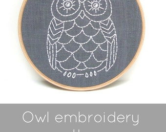 Hand Embroidery Pattern, Modern Hand Embroidery Pattern, DIY Embroidery Pattern, Embroidery Pattern, Owl Embroidery, DIY Embroidery Hoop Art