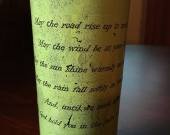 Irish Wedding Blessing Wine Bottle, Irish Wedding Center Piece, Painted Wine Bottle Irish Blessing, Marriage Blessing Wine Bottle