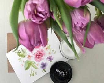 Aquarelle en fleurs•Chandelle de soya fait main et une carte•Chandelle estivale faite à la main colorée•Bougie pour détente•Printemps/été