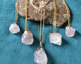 Raw Rose quartz necklace gold, Raw rose quartz pendant gold plated, rose quartz pregnancy necklace, rose quartz fertility love chakra stone