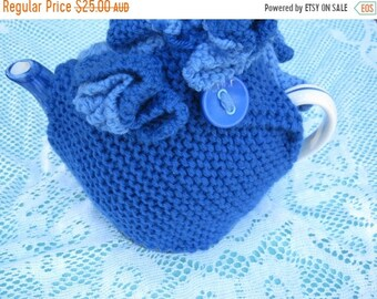 ON SALE Vintage Tea Cosy - Blue and Pale Blue with Buttons - Vintage Style for your teapot.