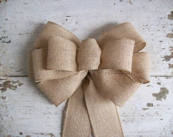 Burlap Bow, Pew Bow, Chair Bow, Rustic Decoration, Wreath Bow, Burlap Wedding, Burlap Decoration, Large Gift Bow