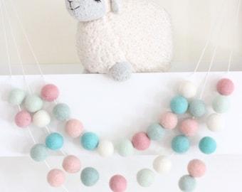 Pink Mint Aqua Felt Ball Garland-Pom Pom Bunting- Baby Shower Decor- Pastel Decor-Sweet Life - Pastel Nursery- Pastel Garland- Nursery Decor