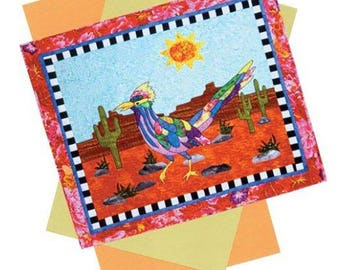 Rhodie Roadrunner Southwest Desert SW Art Quilt Pattern BJ Designs Applique