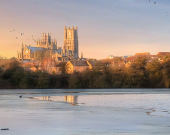 Ely Cathedral in Ice, Cambridgeshire, England, UK Photography - Fine Art Print by Meleah Reardon