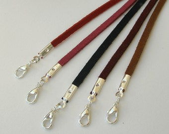 "6pcs Faux Suede Cord Necklaces Black Brown White Lavender Blue Green Pink 14"" 16"" 17"" 18"" 19"" 20"" 22"" 24"" 26"" 28"" Handmade in USA"