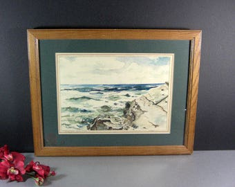 Water Color Painting by Texas Artist Henry Houpy / Signed Dated 1945 Framed under glass