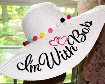 Personalized Pom Pom Floppy Hat or Bow Statement Name Wedding, Beach, Custom, Honeymoon or Bridesmaids, Beach, Derby, Cup Race, YOU NAME IT