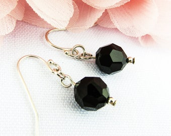 Black Swarovski Crystal Drop Earrings, Sterling Silver Earrings, Crystal Jewelry, Perfect Gift for her, Birthstone Jewelry - Annie