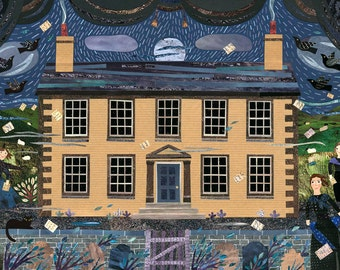 Brontë Sisters Greeting Card, Haworth Parsonage, Museum, England, Full Moon, Writers' Houses, Graveyard, Amanda White Design, Midnight Blue