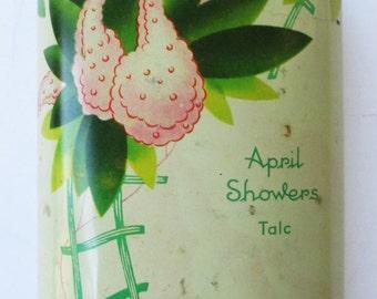 Vintage 1940s Cheramy April Showers 5 oz Talc Tin