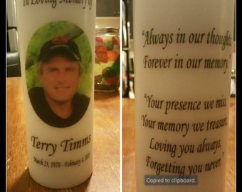 "Memorial Candle, Funeral Candle, Tribute Candle, Wedding Candle. 8"" Personalized PHOTO Pillar Candle."