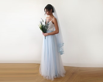 Lace wedding dress with straps wrap tulle maxi gown, white wedding dress & light blue tulle wedding gown, two colors dress 1185