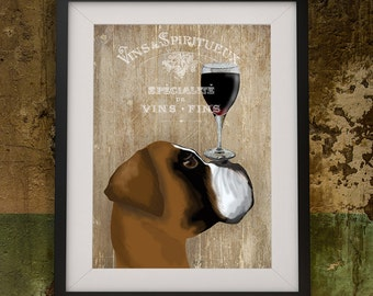 Boxer Dog Art Print Dog Au Vin Boxer Dog painting dog wall art boxer dog art dog painting boxer illustration dog wall decor gift wine lover