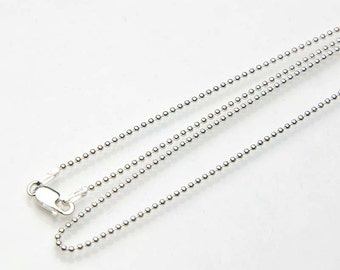 Dainty Sterling Silver Bead Chain Necklace - Ball Chain 925 Silver Necklace - Choose 16 inch, 18 inch, 20 inch - Sterling Silver Chain Only