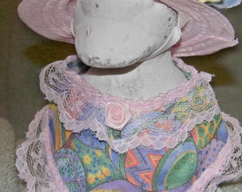 "Easter 6"" baby goose outfit in pastel eggs, pink lace and Easter bonnet"