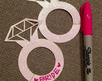 Diamond Ring Glitter Wine Glass Markers/ Tags - Qty 20