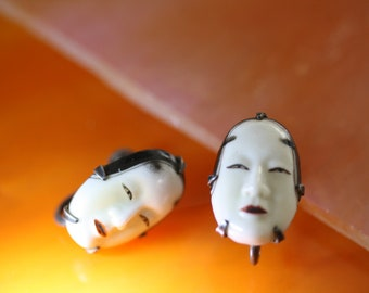 Antique Toshikane Japanese Noh Mask Screw Back Earrings