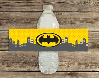 Batman birthday party water bottle labels printable instant download