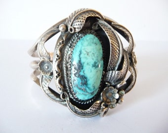 Vintage Turquoise Sterling Bracelet Vintage 1970s Cuff Bracelet Native American from TreasuresOfGrace