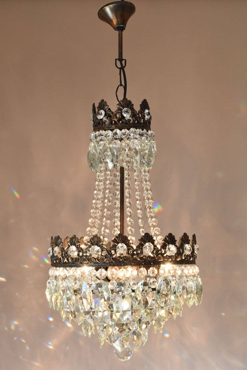 Image of 1950s Vintage Crystal Chandelier Antique French Ceiling Lighting Luxury Crystal Chandelier Home Living Lamps Pendant Light FREE DELIVERY