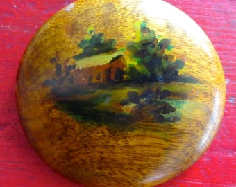 Vintage red house on the hill brooch Evergreens on the hill pin  Hand painted 1940's wood brooch Hand painted red house Vintage red cabin