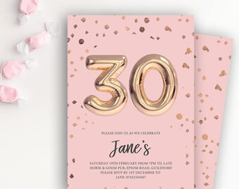 30th Birthday Party Rose Gold Balloon Printable Invitation Template