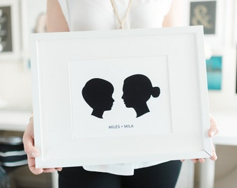 Custom Silhouette Portrait From Your Photo Mother's Day Gift Nursery Wall Art Nursery Decor for Boy or Girl Colored Silhouette on White