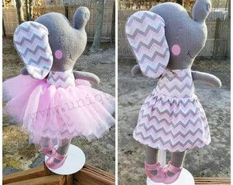 "Handmade Elephant Doll 18.5"" or 15"" with optional accessories! Boy & Girl versions available! Each is unique, one of a kind! Fully washable!"