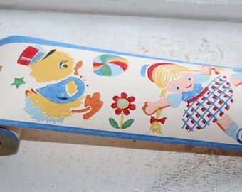 Vintage 1950s Wallpaper Border Toy Parade Dex Brand Unused Wall Paper