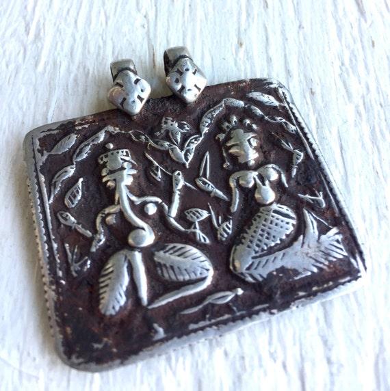 Rajasthan Ganesh Pendant - RARE Pendant - Parvati Pendant - Antique Hindu Amulet - Yoga Jewelry - Spiritual Amulet - Ganesha & Parvati