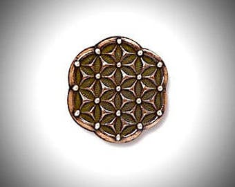 Copper Flower of Life Lapel Pin Sacred Geometry Seed of Life Gift for Groomsmen