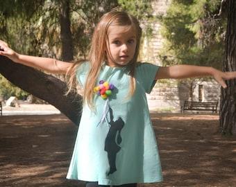 Pom Pom dress, applique dress, toddler dress, girl with balloons,turquoise dress, all year time dress, boho dress, girl's dress