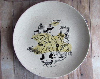 """Fun Vintage Harmony House Plate - """"The Pioneer"""" - Excellent Condition - Made for Sears"""